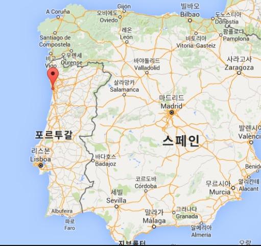 포르투갈 위치도 - 네이버 갈무리