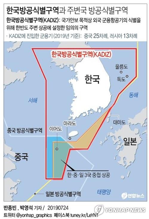 [그래픽] 한국방공식별구역과 주변국 방공식별구역