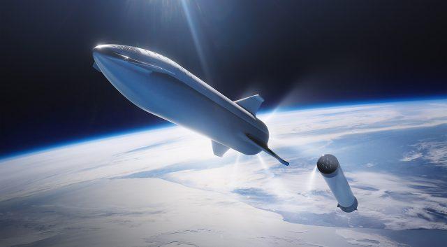 스타십 우주선과 슈퍼헤비의 그래픽 이미지