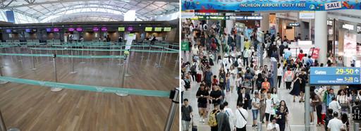 일본 정부의 경제보복 조치로 인해 일본 여행 불매 운동이 계속되고 있는 24일 인천국제공항에서 일본행 비행기 탑승 수속 시간에 열린 체크인 카운터(사진 왼쪽)가 썰렁한 모습을 보이고 같은 날 인천국제공항 면세점(오른쪽)은 휴가철을 맞아 해외로 떠나는 여행객들로 붐비고 있다. 뉴시스
