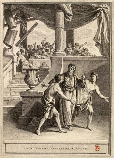 고대 그리스 시인 시모니데스는 널리 알려진 기억술인 '장소 기억법'의 창시자로 알려져 있다. 그는 연회장이 무너져 죽은 사람들을 당시 그들이 앉아 있던 장소와 연계해 모두 기억해냈다고 한다. 그림은 18세기 프랑스 화가의 작품. 위키미디어 코먼스