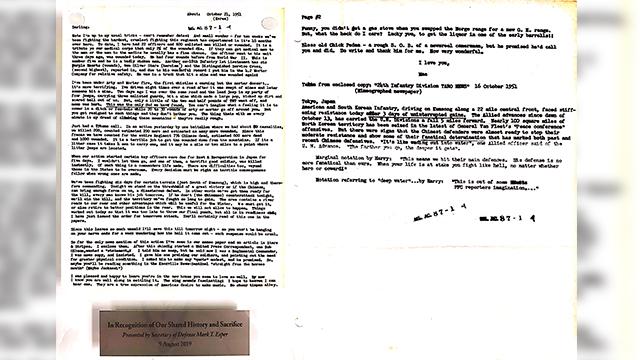 """에스퍼 장관의 첫 선물 '68년 전 편지'..""""한미 함께한 희생의 상징""""[007? 토토 우리세상 토토]"""