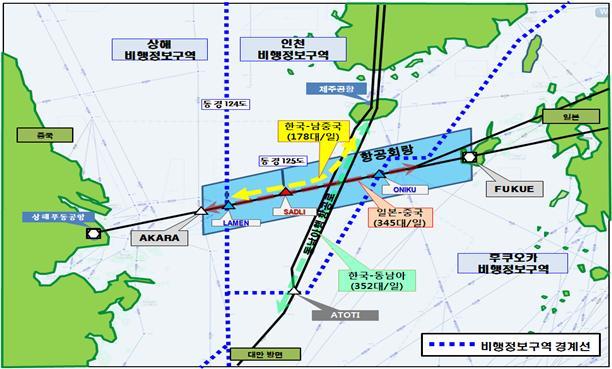 제주남단 공역 및 항공회랑 도면 /자료 제공=국토교통부