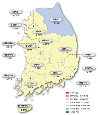 [이미지=한국감정원 아파트 매매가격 변동률]