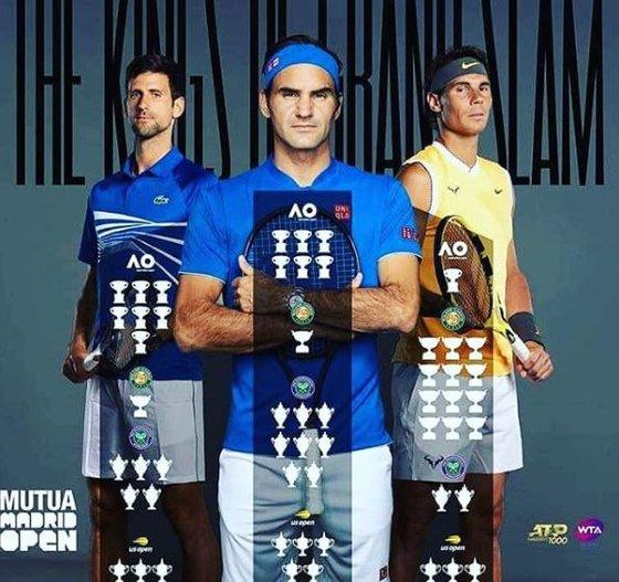 남자 테니스 빅3인 조코비치, 페더러, 나달(왼쪽부터). [사진 ATP SNS]