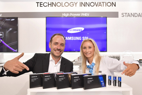 삼성SDI가 독일 프랑크푸르트 모터쇼에서 전기차 시대를 선도할 다양한 배터리 제품들을 전시했다.  삼성SDI 제공