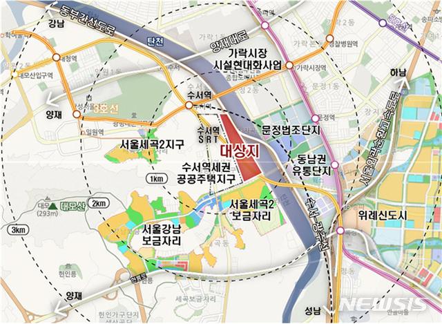 【서울=뉴시스】수서차량기지 위치도. 2019.09.11. (사진=서울시 제공)