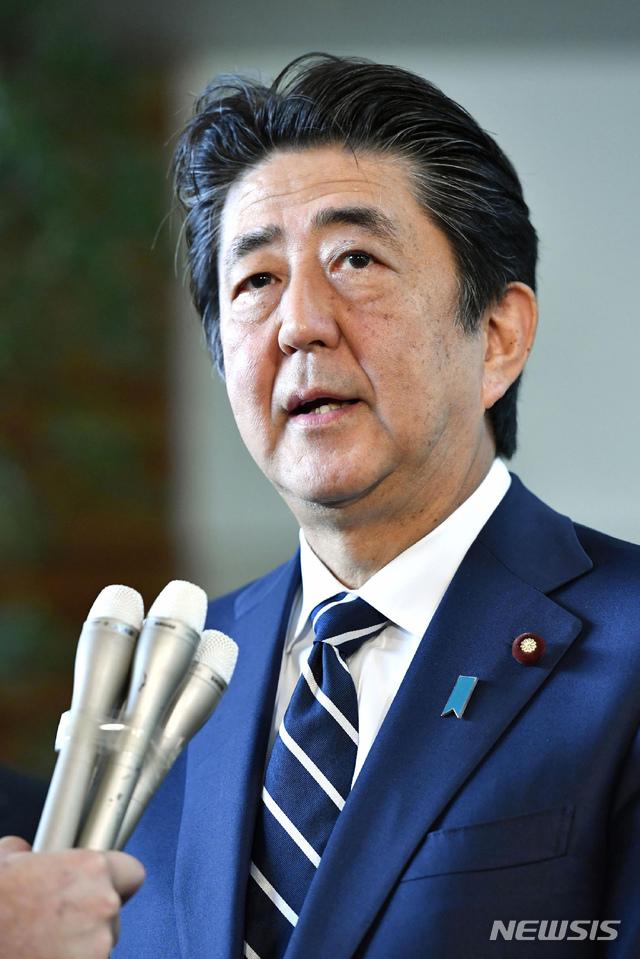 【도쿄=AP/뉴시스】아베 신조 일본 총리가 지난달 23일 도쿄 총리 관저에서 기자회견을 하고 있다. 2019.08.23.