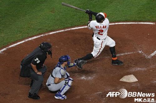 볼티모어 비야가 홈런을 때리고 있다. 이 홈런으로 메이저리그는 한 시즌 리그 최다 홈런 기록을 경신했다. 사진(美 볼티모어)=ⓒAFPBBNews = News1