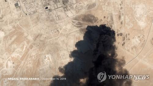 9월14일 드론 등 공격으로 불타는 사우디아라비아 석유시설 [로이터=연합뉴스]