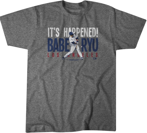 ▲ '브레이킹T'라는 업체가 류현진의 첫 홈런을 기념해 제작한 티셔츠. 28달러에 판매되고 있다 ⓒ브레이킹T 홈페이지 캡처
