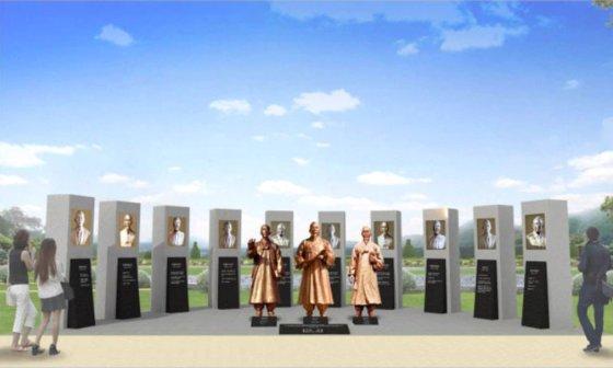 구미 물빛공원에 조성 예정이었던 왕산 가문 14인 독립운동가 동상. [사진 한국수자원공사]