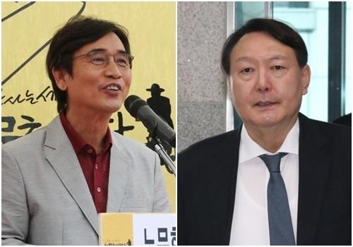 유시민 노무현재단 이사장(왼쪽)과 윤석열 검찰총장. 연합뉴스