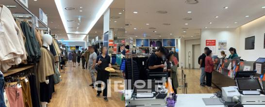 지난달 30일 서울 영등포구의 한 유니클로 매장(왼쪽)에 30명 이상의 고객들이 쇼핑을 하고 있었다. 다음날인 1일 서울 중구의 한 유니클로 매장에는 고객 6명이 계산을 위해 대기 중이다. (사진=황현규 기자)