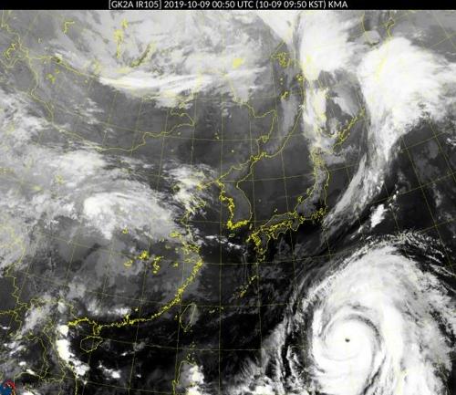 오전 9시 50분 현재 태풍
