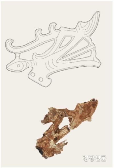 수습된 금동신발에서 확인된 금동편을 복원한 결과 금동신발의 오른쪽 짝에서 탈락된 용머리 장식이라는 사실이 밝혀졌다.|국립나주문화재연구소 제공