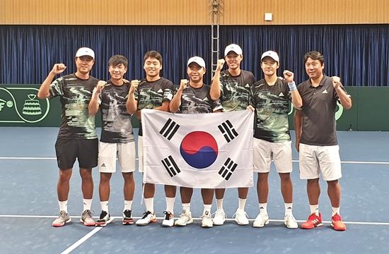 데이비스컵에서 중국을 꺾은 한국 남자 테니스 대표팀