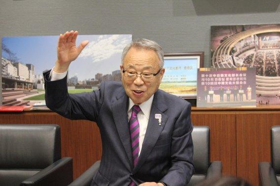 다카노 유키오 도쿄 도시마구청장이 소멸가능진단을 받은 후 인구유입 정책을 어떻게 펼쳤는지에 대해 설명하고 있다. 사진=조은효 특파원