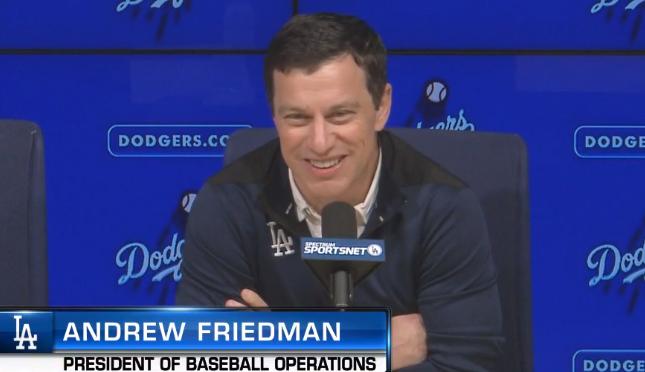 ▲ 앤드류 프리드먼 LA 다저스 사장이 15일(한국시간) 미국 캘리포니아주 LA 다저스타디움 기자회견실에서 인터뷰를 하고 있다. 사진은 mlb.com 영상 캡처.