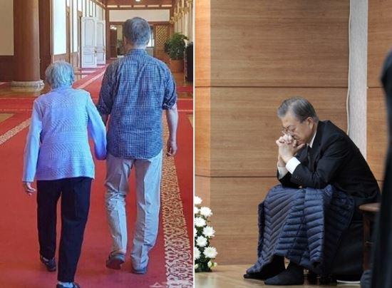 문재인 대통령과 모친 강한옥 여사의 생전 모습(왼쪽)과 모친 빈소 지키는 문재인 대통령. 연합뉴스