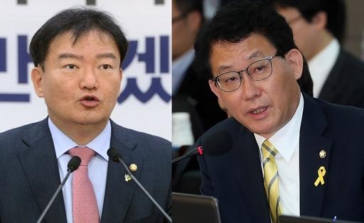 민경욱 자유한국당 의원(왼쪽)과 유기홍 전 더불어민주당 의원.