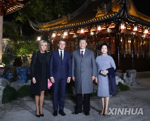 시진핑 '마크롱 극진대우'..부부동반 정원산책·전통극 관람[트위터 토토|종이 테이프]