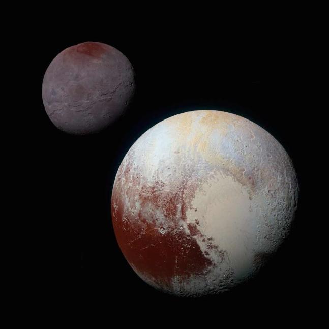 뉴호라이즌스호가 보내온 명왕성과 위성 카론의 모습. 사진=NASA/JHUAPL/SwRI