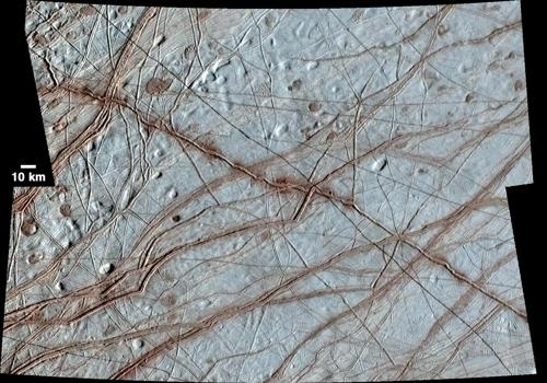 갈릴레오호가 포착한 유로파 표면 [NASA/JPL-Caltech/애리조나대학 제공]