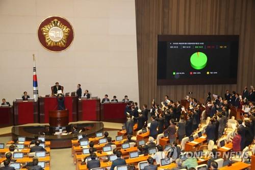 2020예산안 본회의 통과 (서울=연합뉴스) 진성철 기자 = 문희상 국회의장이 10일 저녁 국회 본회의에서 한국당 의원들의 항의 가운데 2020년 예산안을 가결하고 있다.  zjin@yna.co.kr