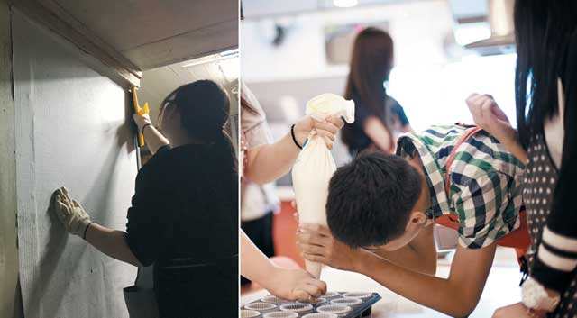 느린 학습자들이 서울 동대문종합사회복지관에서 벽지 바르기, 제빵 등 직업교육을 받고 있다. / 동대문종합사회복지관
