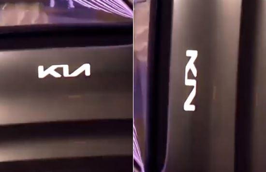 2019 제네바모터쇼에 선보인 'Imagine by Kia'의 차량에 부착된 새로운 로고(왼쪽). 대체로 긍정적인 평가지만 '즐'로 보인다는 지적이 있다. Kondor 유튜브 캡처