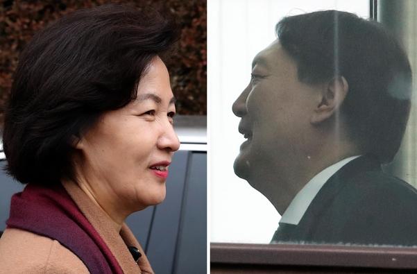 추미애(왼쪽) 법무장관과 윤석열 검찰총장. /뉴시스