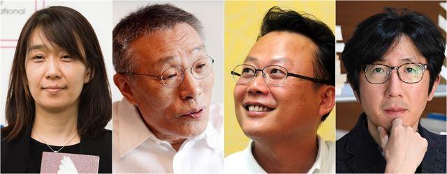 2020년에 신간으로 독자를 찾는 작가들. 왼쪽부터 한강, 황석영, 김언수 작가, 신형철 평론가.