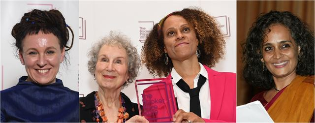 2020년도에 국내 독자를 찾는 해외 거장들. 왼쪽부터 2018 노벨문학상 수상자인 올가 토카르추크, 2019 부커상 공동 수상자인 마거릿 애트우드와 베르나르딘 에바리스토, 데뷔작으로 부커상을 수상한 아룬다티 로이