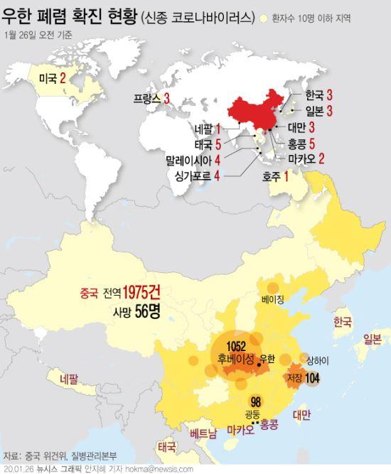 26일 질병관리본부에 따르면 50대 한국인 남성이 국내에서 세번째 신종 코로나 바이러스 감염증 확진자로 확인됐다. 해당 환자는 중국 후베이성 우한시에서 거주하다가 20일 일시 귀국했다. 뉴시스