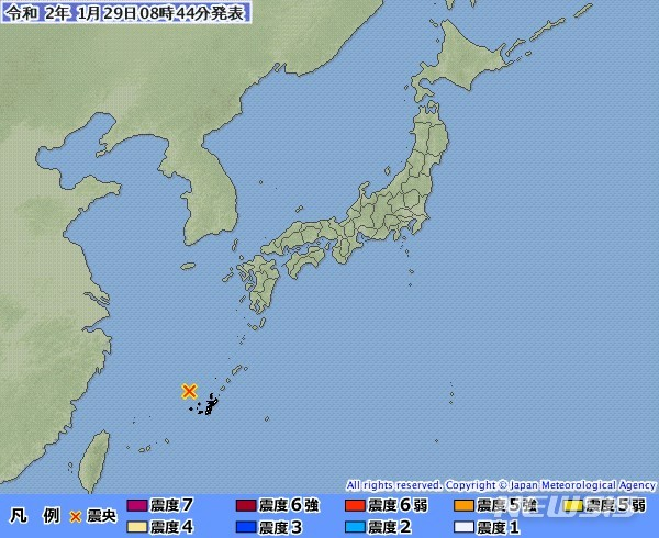 [서울=뉴시스] 일본 남부 오키나와섬 근해에서 29일 규모 5.4 지진이 발생했다. (사진출처: 일본 기상청 홈페이지 캡처) 2020.01.29