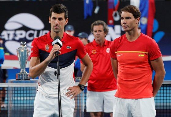 지난달 ATP컵에 출전한 노박 조코비치와 라파엘 나달(오른쪽). [로이터=연합뉴스]