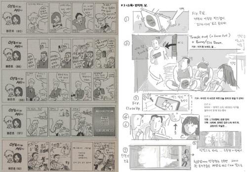 봉준호 감독은 만화광으로 직접 그리는 것도 즐겼다. 왼쪽은 봉 감독이 연세대 재학시절 '연세춘추'에 연재한 만화, 오른쪽은 봉 감독이 직접 그린 '기생충' 원본 스토리 보드.