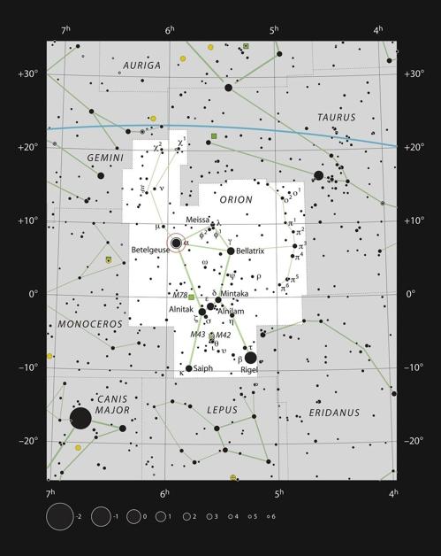 오리온자리(흰색박스)와 베텔게우스 위치(중앙 원안) [ESO, IAU, Sky & Telescope 제공]
