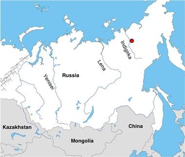 빙하기 종다리 사체가 발굴된 시베리아 동북부(붉은 점) 위치. 뒤섹스 외 (2020) '커뮤니케이션 바이올로지' 제공.