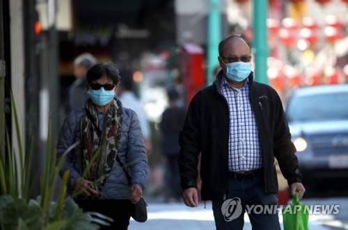 마스크를 착용한 채 샌프란시스코 시내 거리를 걷는 시민들 [AFP=연합뉴스]