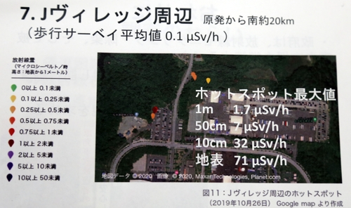 J빌리지 인근의 핫스폿 (도쿄=연합뉴스) 이세원 특파원 = 그린피스 저팬이 작년 10∼11월 조사한 결과를 보면 후쿠시마의 스포츠시설인 J빌리지 일대에서 방사선량이 높은 핫스폿이 확인됐다. 사진은 그린피스 저팬이 9일 도쿄에서 열린 기자회견에서 배포한 자료 중 J빌리지 일대에 관한 설명이 담긴 부분. 2020.3.9   sewonlee@yna.co.kr