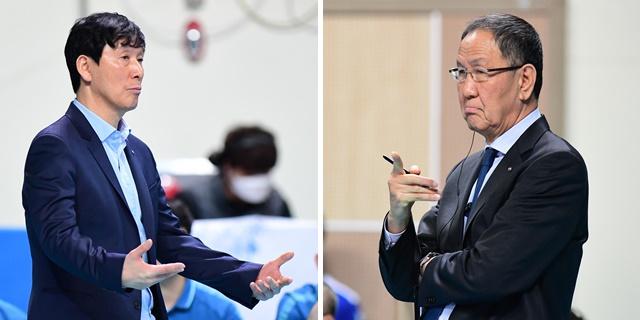 지난달 9일 5라운드 맞대결 때 신영철 우리카드 감독과 박기원 대한항공 감독. 한국배구연맹(KOVO) 제공
