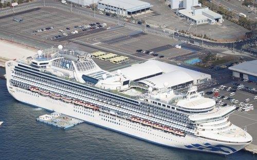일본 요코하마항 정박 중 코로나19 집단 감염 사태가 발생한 크루즈선 '다이아몬드 프린세스'. [교도=연합뉴스 자료사진]