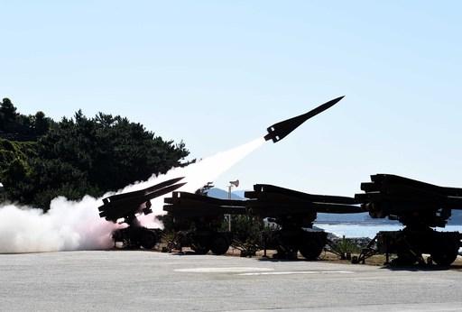 공군 호크 지대공미사일이 가상 표적을 향해 발사되고 있다. 세계일보 자료사진