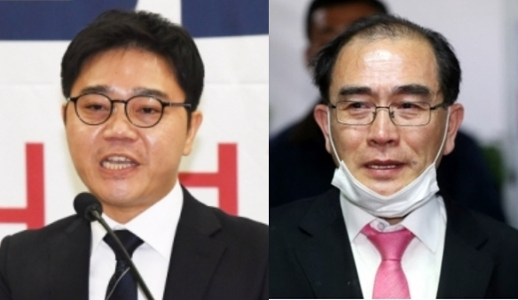 지성호 미래한국당 당선인, 태영호 미래통합당 당선인. 서울신문DB·연합뉴스