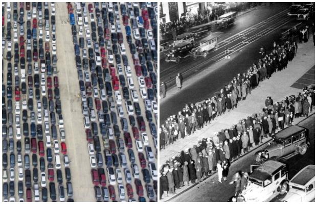 지난달 9일(현지시간) 미국 텍사스주 샌안토니오의 트레이더스빌리지 앞에 푸드뱅크 식료품 박스를 받으려는 주민 차량이 줄지어 있다./사진=AP 연합뉴스(왼쪽) 1929년 미국을 강타한 경제 대공황 당시 미국 뉴욕 타임스퀘어 인근에 식량 배급을 받기 위해 늘어선 사람들./사진=AP 인사이더(오른쪽)