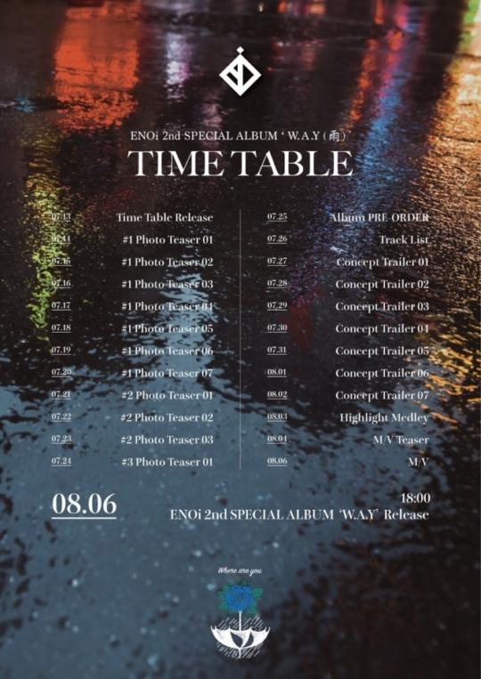 6일(목), 이엔오아이(ENOi) 스페셜 앨범 2집 'W.A.Y(雨)' 발매   인스티즈