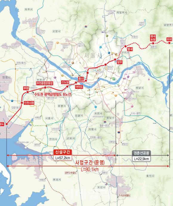 수도권 광역급행철도 'GTX-B'노선도.