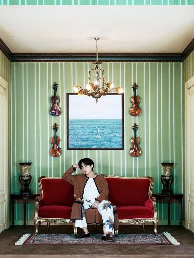 Group BTS has released a concept photo for each member of the new albumBE (Deluxe Edition). The first runner is V.BTS V posted two concept photos on the official SNS on November 2. One is a picture taken comfortably in a room decorated space, and the other is a close-up shot focusing on Vs face.The concept photo of BTSBE (Deluxe Edition), which will be released starting with V, is the theme ofRoom that makes use of the members individuality and inclination. The room decorated with different colors and atmospheres was completed by actively reflecting the opinions of each member. The seven members show various charms in the room, a space where you can focus on yourself.Vs room, where the first tape was cut, is a space with a unique atmosphere with soft green and white wallpaper, doors, and red velvet sofas. On the basis of the sofa, small items such as violins and ceramics are symmetrical, reminiscent of a small art gallery. In particular, the picture in the frame hung in the center of the wall was taken directly by V. Wearing stylish home wear, V presents a unique charm with comfortable poses and profound eyes in a room decorated to his liking.The individual concept photos ofBE (Deluxe Edition) are also posted on the official website of Big Hit Entertainment, and you can listen to the audio guide recorded by the members by clicking on the props in the photo.V said, Welcome to Vs room, and introduced himself as the curator of the room. The picture I took behind me is more meaningful because the picture I took myself. Through the picture that shifted my gaze as it is, I could express both my gaze at the world and myself in that space. It seems to be an object, he explained.On the 20th, BTS will simultaneously release their new albumBE (Deluxe Edition) worldwide.